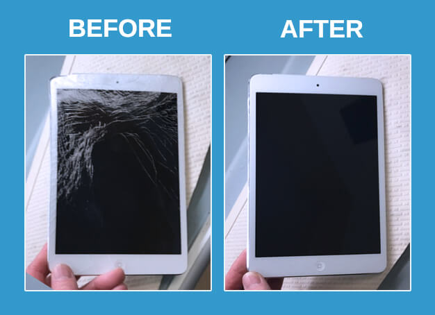 ipad repair before after photos front view